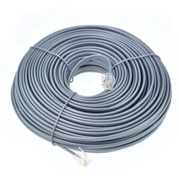 100FT feet RJ11 6P4C Modular Telephone Extension Cable Phone