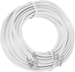 15' Feet Telephone Extension Cord Cable Line Wire, White RJ-