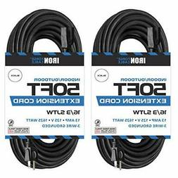 2 Pack of 50 Ft Black Extension Cord - 16/3 Durable Electric