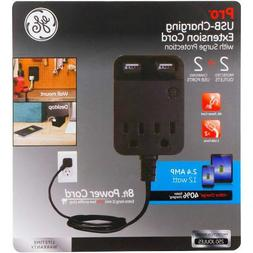 GE Charging Extension Surge Protection 2 Outlet, 2 USB, 2.4A