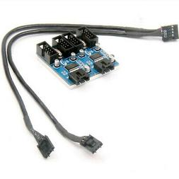 9Pin USB Header Male 1 to 4 Female Extension Splitter Cable