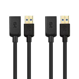 Cable Matters 2 Pack, SuperSpeed USB 3.0 Type A Male to Fema