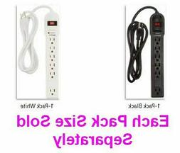 Black - White 6-Outlet 790 Joules Surge Protector Power Stri