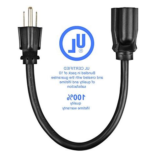Etekcity Pack Extension Cable, 16AWG-13A, 3 Grounded, Listed
