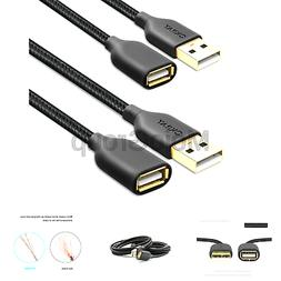 OKRAY 2 Pack Nylon Braided USB 2.0 Extension cable Extender