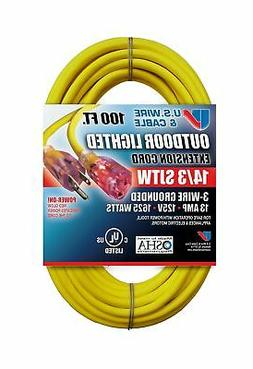 US Wire and Cable 14/3 100-Feet SJTW Yellow Lighted Extensio