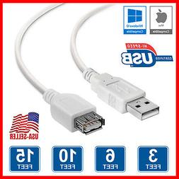 USB 2.0 Extension Cable A Male To A Female Extender Cord Whi
